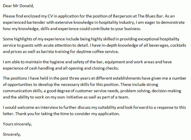 Bar Person Cover Letter Example - icover.org.uk