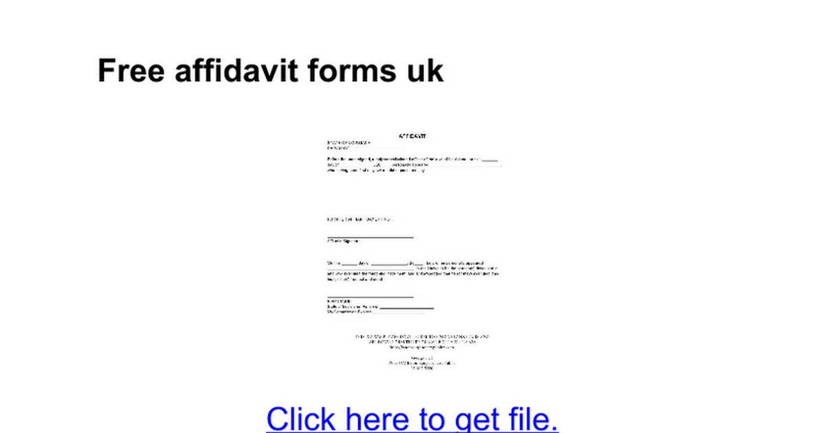 Free affidavit forms uk - Google Docs