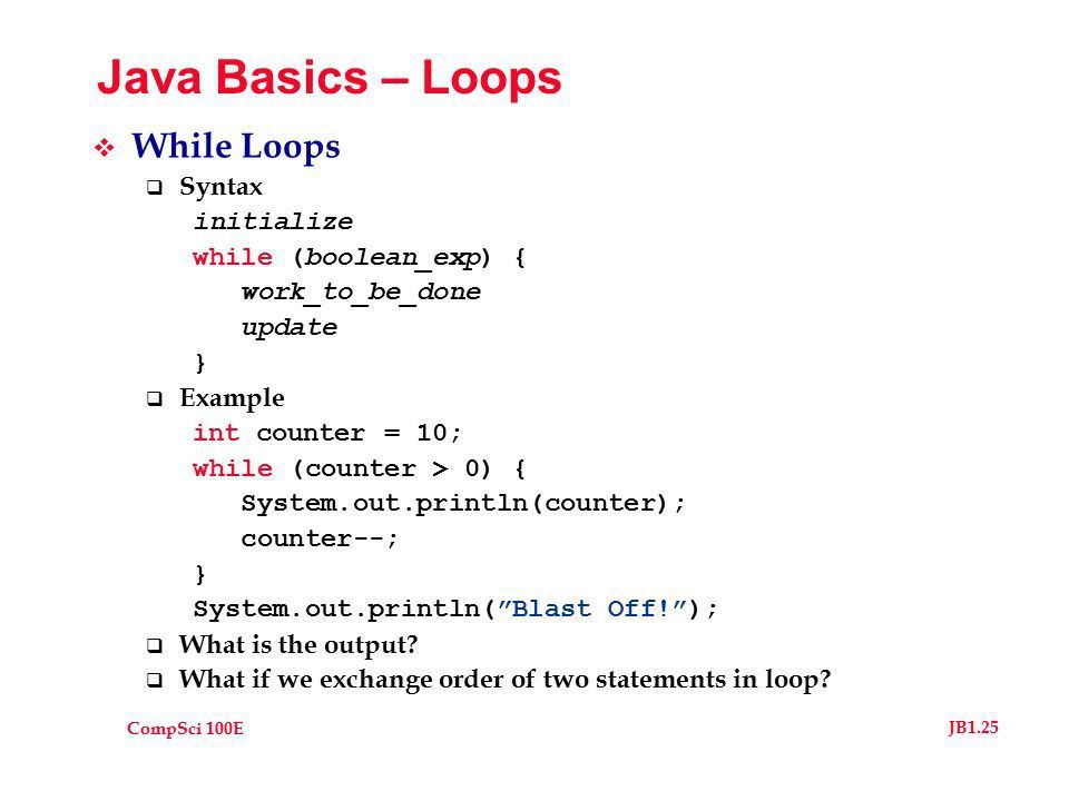 CompSci 100E JB1.1 Java Basics (ala Goodrich & Tamassia ...
