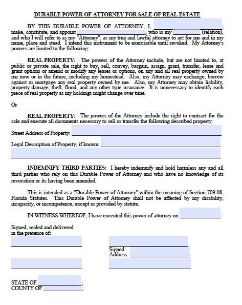 Free Real Estate ONLY Power of Attorney Form Florida – PDF