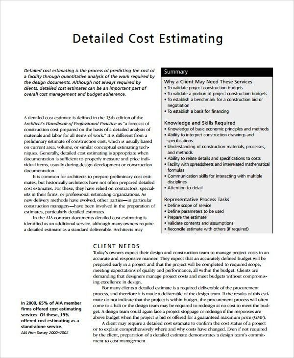 Sample Cost Estimate Templates - 6+ Free Documents Downloadin PDF ...