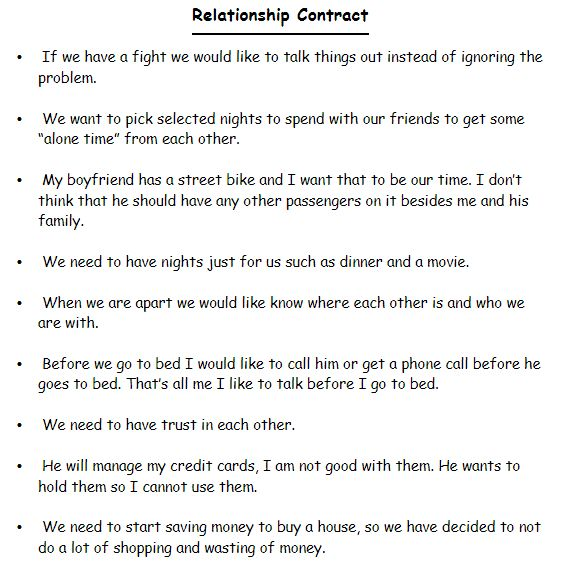 Relationship Contract Templates - Word Excel Samples
