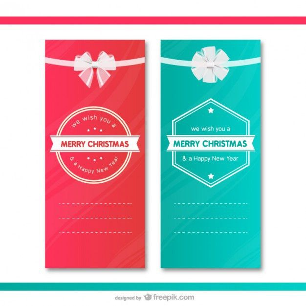 Christmas gift cards templates Vector | Free Download