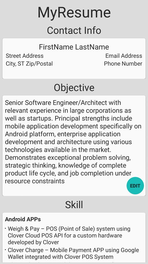 Simple Resume Builder - Android Apps on Google Play