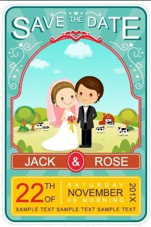 Cute cartoon style wedding invitation card vector 02 - Vector Card ...