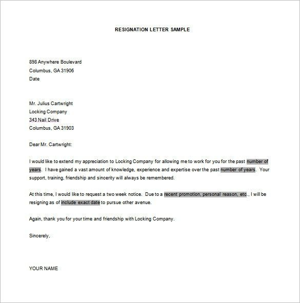 Resignation Letter Format – 8+ Free Word, Excel, PDF Format ...