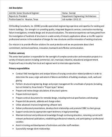 Structural Engineer Job Description Sample 9+ Examples In Word, PDF Awesome  Design  Building Engineer Resume