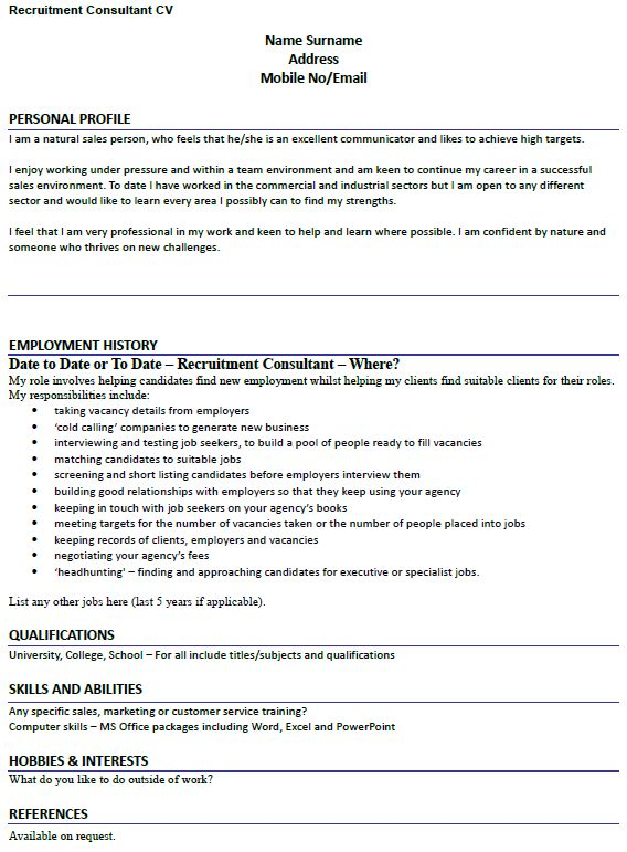 CV Example for Recruitment Consultant - lettercv.com