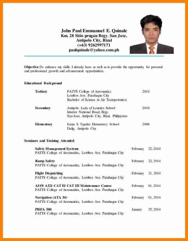 Sample Resume Format For Ojt Hrm Students - Augustais