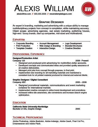 Resume template keyword optimized for a graphic designer. Fully ...