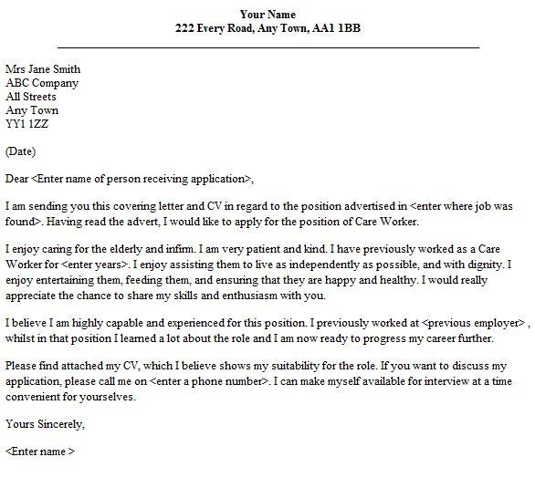 Care Worker Cover Letter Sample - lettercv.com