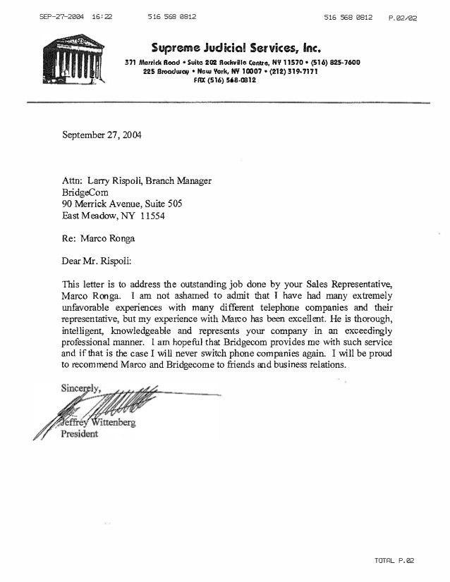 Supreme Judicial Customer Reference Letter