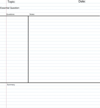 SMART Exchange - USA - Cornell Notes Template