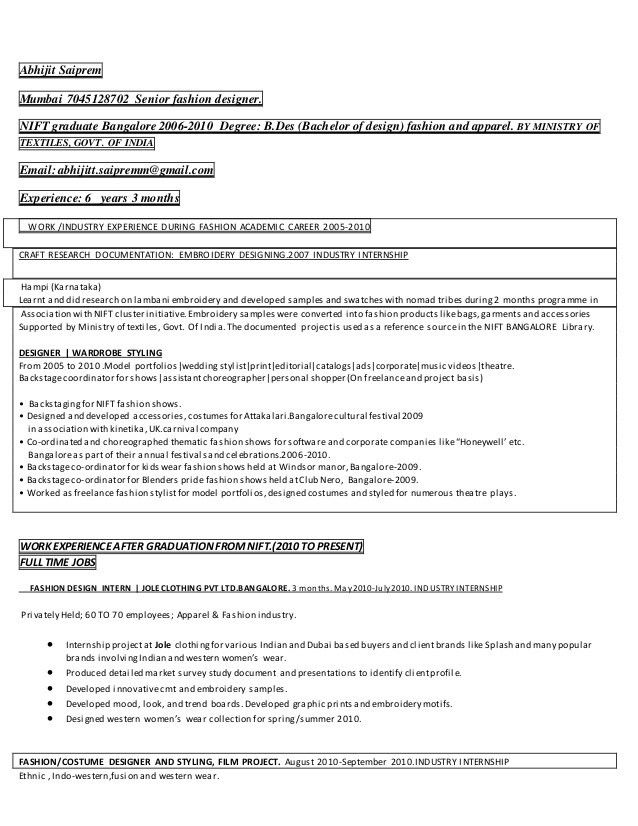 Senior Fashion Designer Resume Sample - Contegri.com