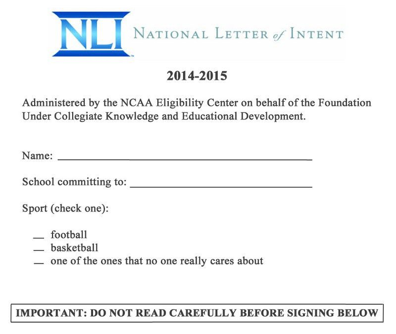 National Letter Of Intent. Close Athletes Sign National Letter Of ...