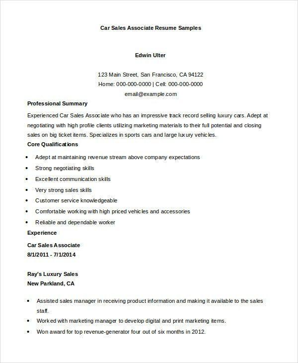 Sales Associate Resume - 7+ Free Sample, Example, Format | Free ...