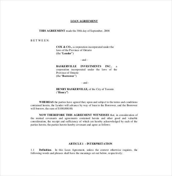 Loan Agreement Template – 11+ Free Word, PDF Documents Download ...