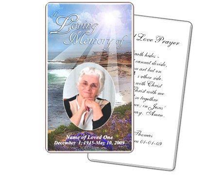 Funeral Prayer Cards: Seascape Prayer Card Templates | Prayer ...