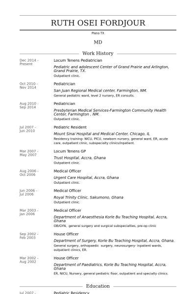 Pediatrician Resume samples - VisualCV resume samples database