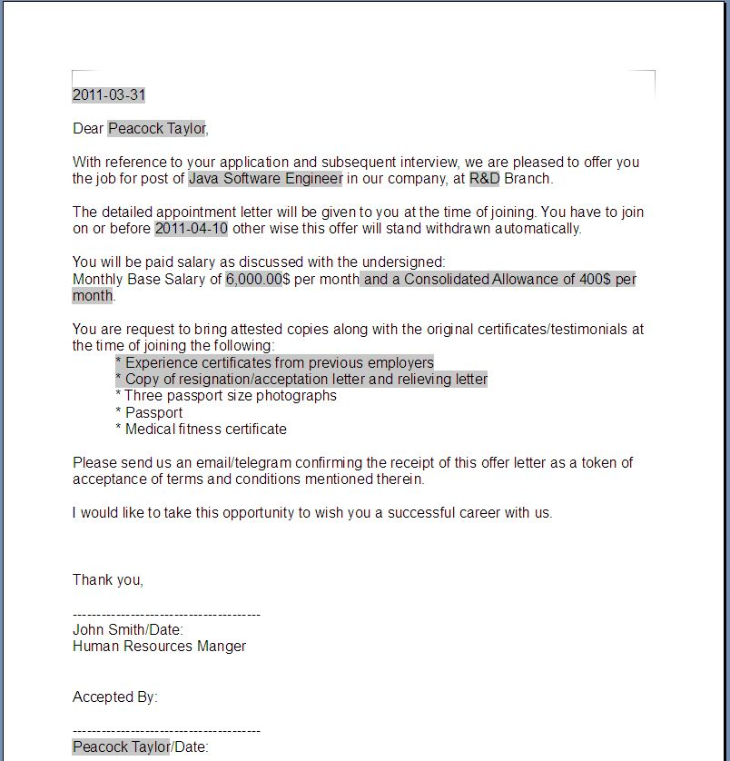 Printable Sample Offer Letter Template Form | Laywers Template ...