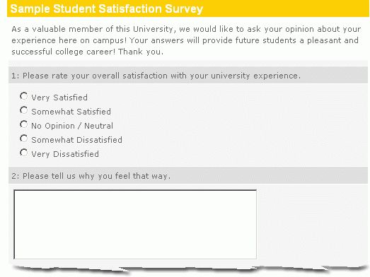 Sample Student Satisfaction Survey :: Easy, Effective, Insightful ...