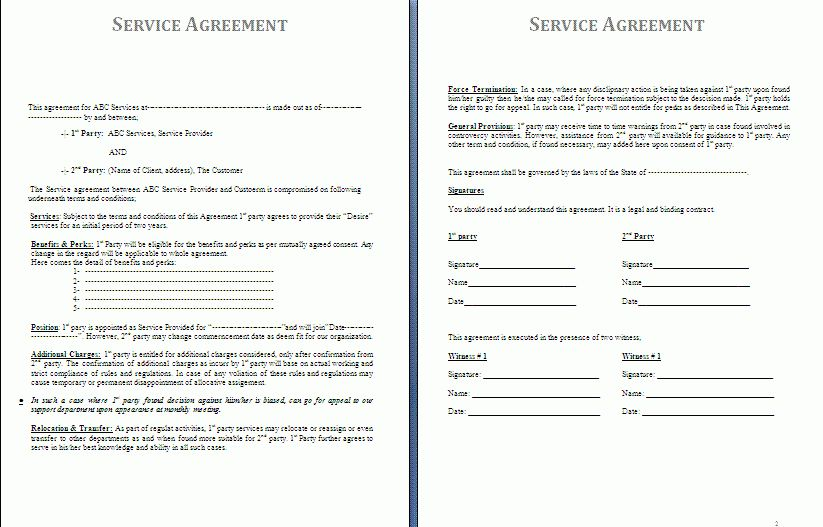 Service Agreement Template | Free Agreement Templates
