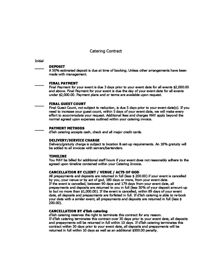 Catering contract template 9 download free documents in word pdf