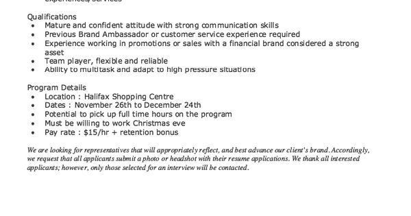 11 brand ambassador resume cover letter riez sample resumes ...