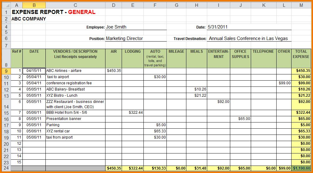 6+ excel expense report | Expense Report