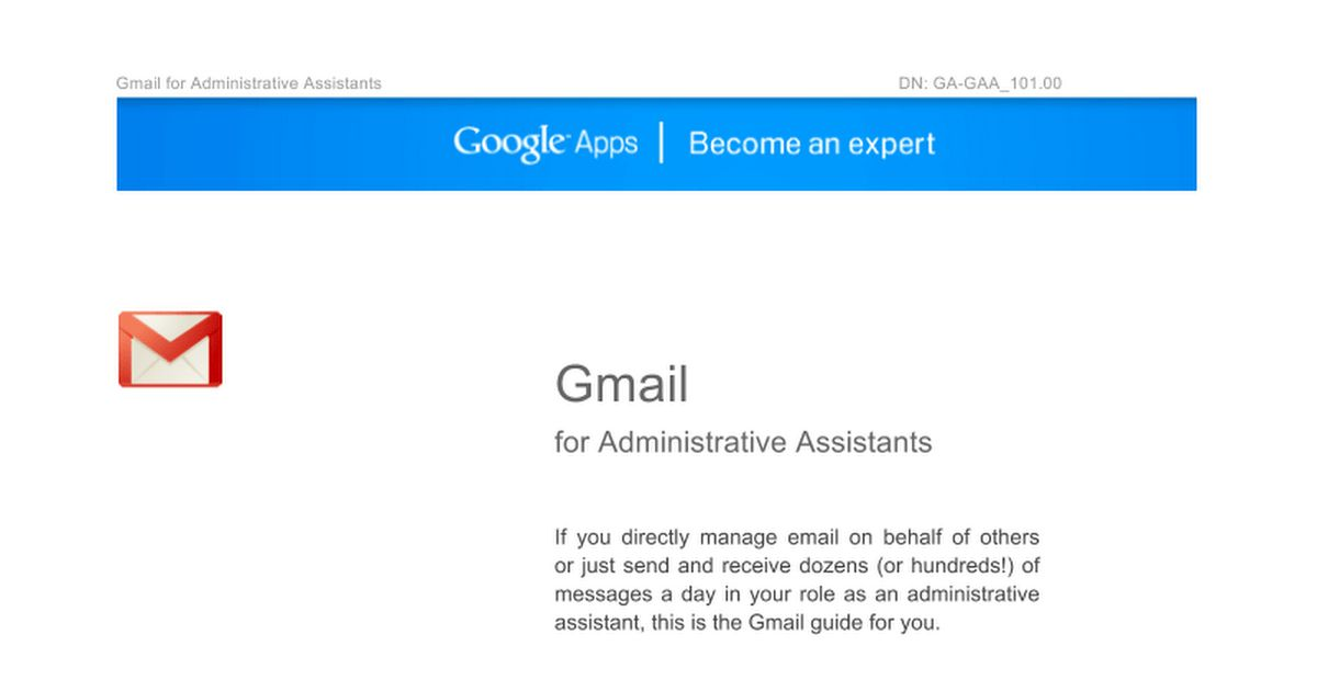 Gmail for Administrative Assistants - Google Docs