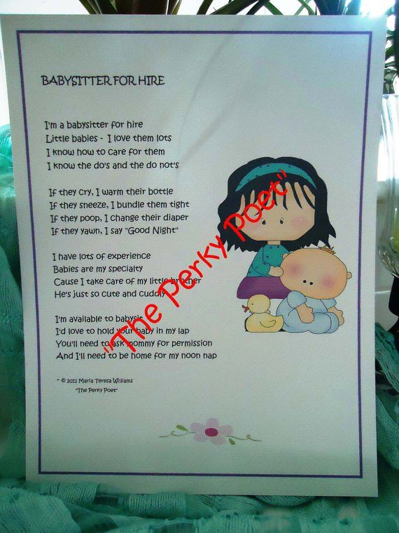 "Items similar to Babysitter for Hire Poem, Cute Funny by ""The ..."