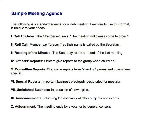 Meeting Agenda Format. 10+ Retreat Agenda Examples, Samples Agenda ...