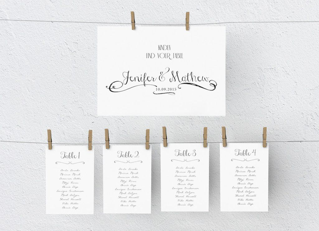 Wedding Seating Chart DIY | Editable MS Word Template | Janda ...