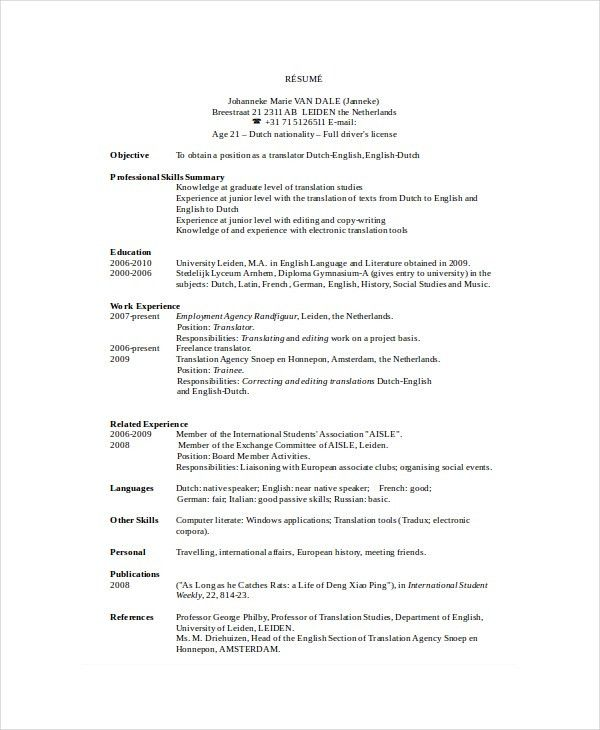 Freelance Resume Template - 6+ Free Word, PDF Documents Download ...