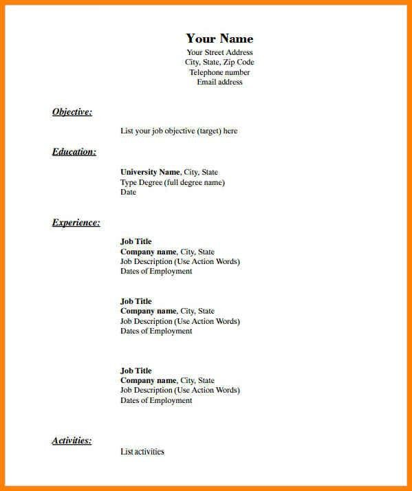 Resume Template Docs. Free Resume Templates Doc Sport Resume ...