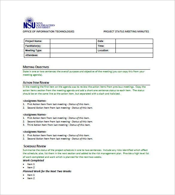 Minutes of Meeting Template - 7+ Free Sample, Example Format ...