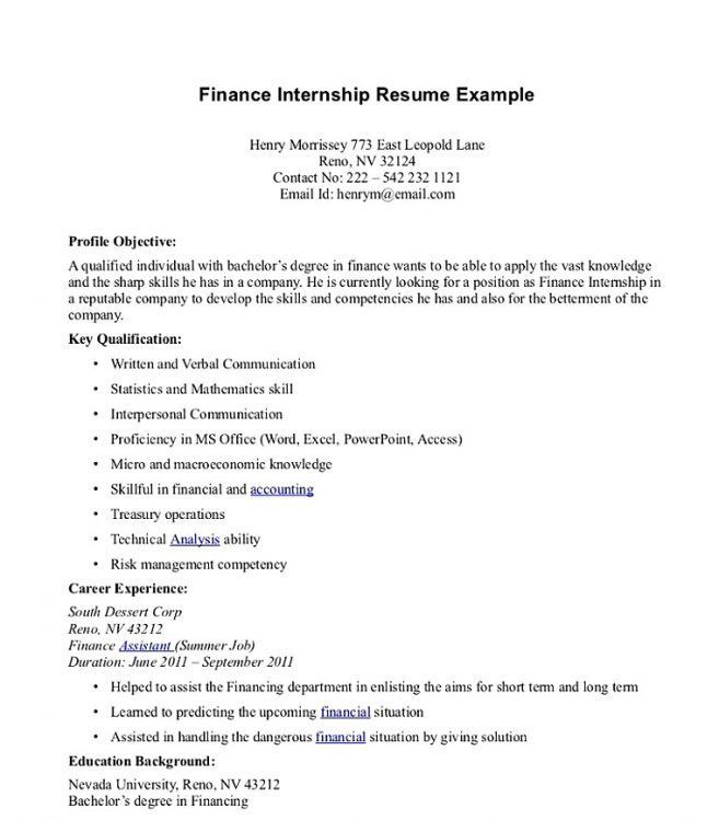 11 Finance Internship Resume Resume financial analyst internship ...
