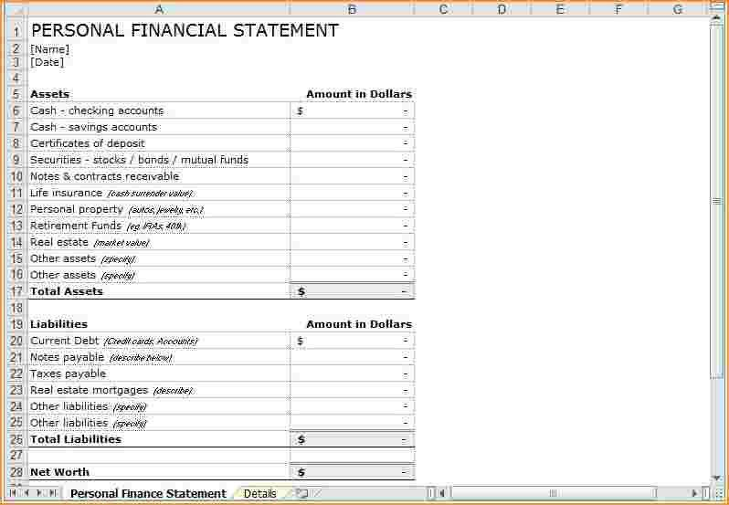 Personal Financial Statement.Personal Financial Statement Template ...