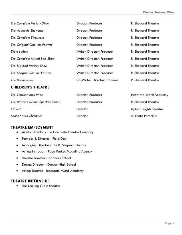 Annie Ward's Theatre Production Resume