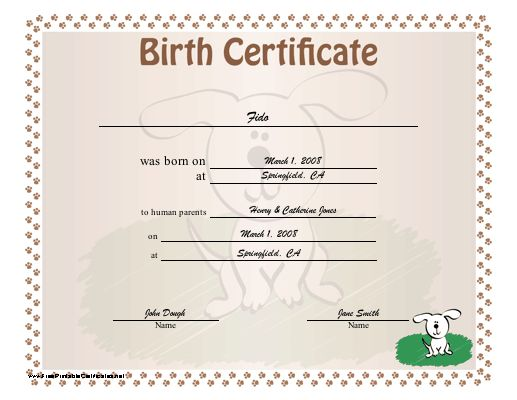 Printable Puppy Birth Certificate Template Tattoos | Ideas for the ...