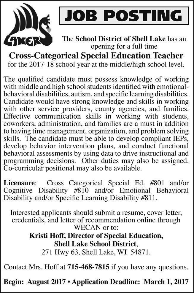 Special Education Administration Cover Letter