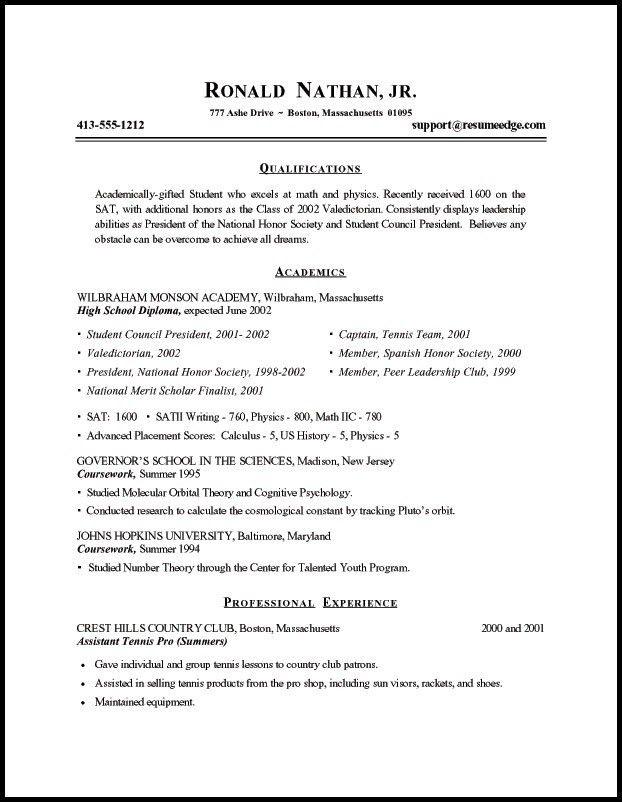 Download Resume For Students | haadyaooverbayresort.com