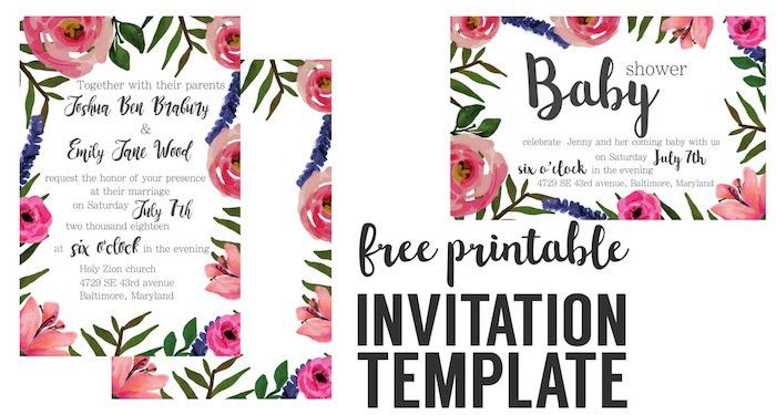 Floral Invitation { Free Printable Invitation Templates } - Paper ...