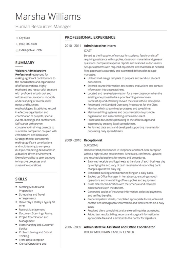 HR CV examples and template