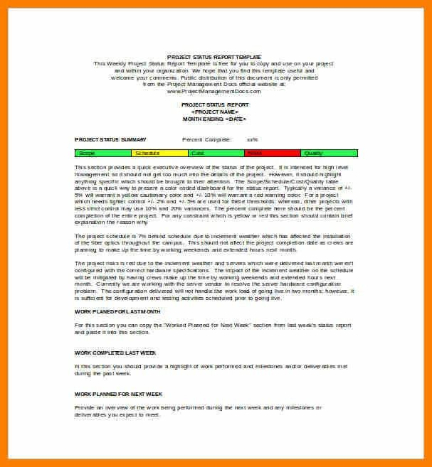7+ weekly status report sample | science-resume