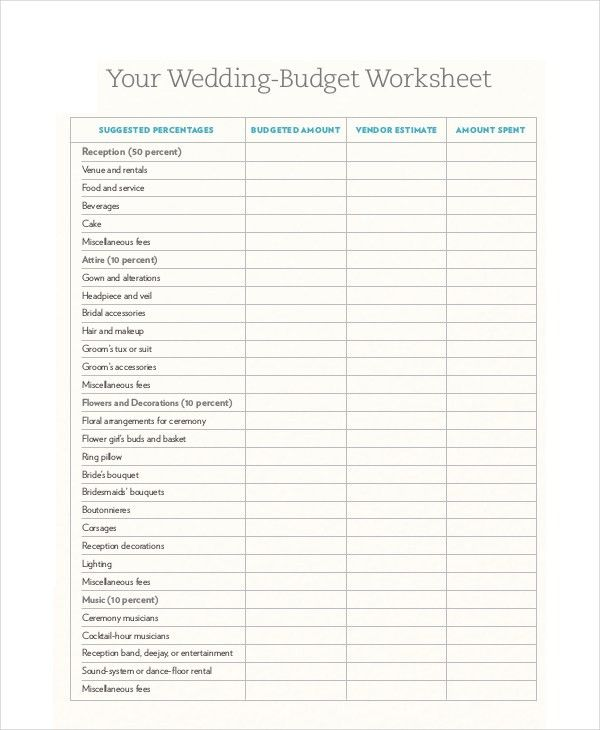 Wedding Budget Template Free , 10+ Budget Template Pdf , Tips In ...