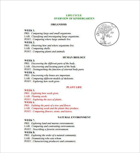 Kindergarten Lesson Plan Template – 11+ Free Sample, Example ...