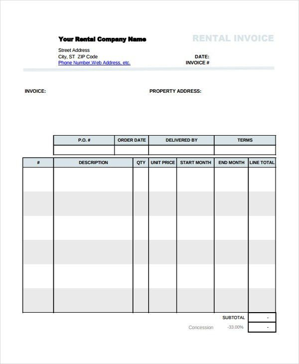 Rental Invoice Template - 5+ Free Word, PDF Document Download ...