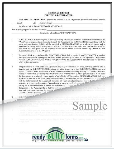 Painting Subcontract Agreement-Download Now