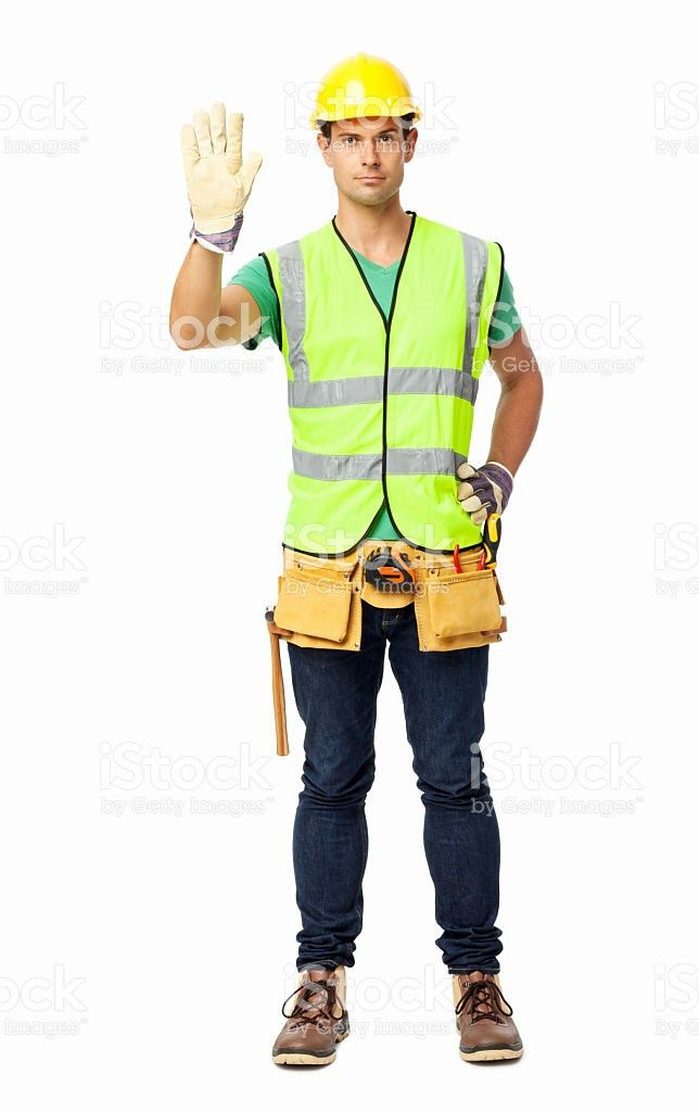 Angry Maintenance Engineer Gesturing Stop Sign stock photo ...